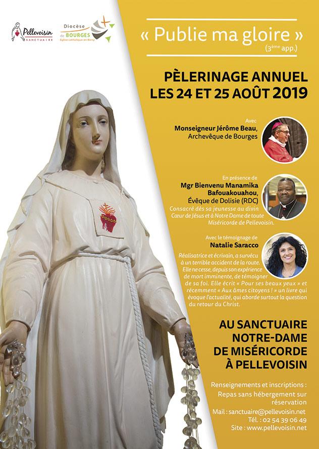 Pèlerinage annuel les 24 et 25 août 2019 avec les Frères de Saint-Jean au sanctuaire Notre-Dame de Miséricorde à Pellevoisin