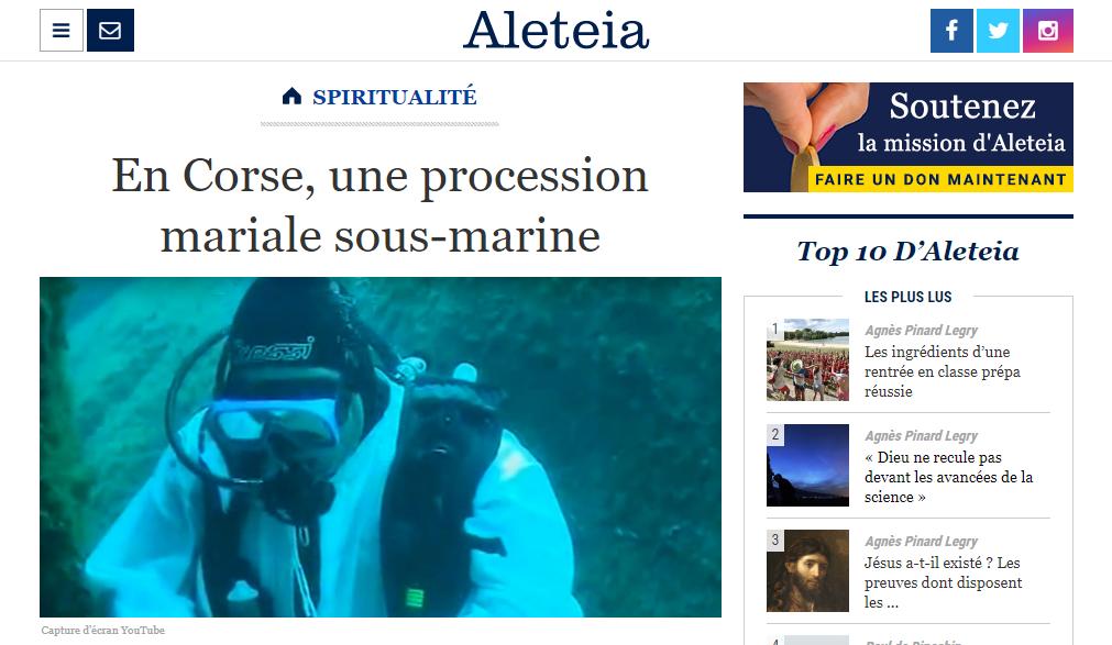 Article d'Aleteia sur la procession sous-marine de Frère Baudoin en Corse
