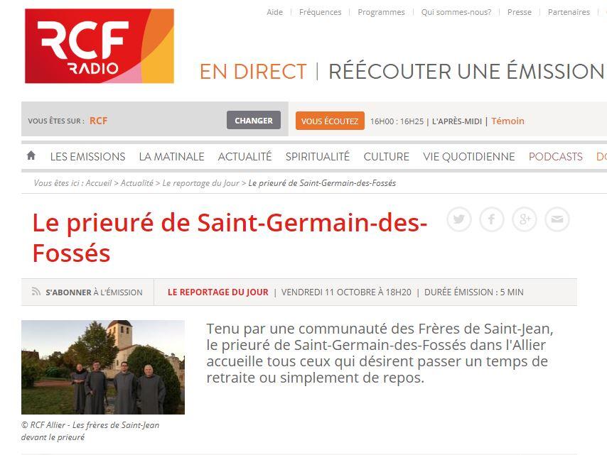 Le prieuré de Saint-Germain-des-Fossés sur RCF