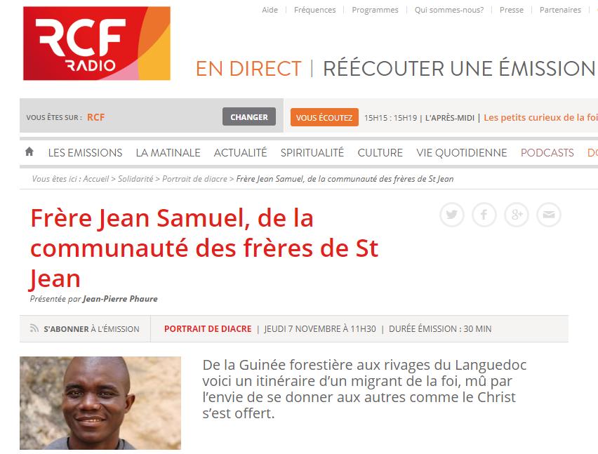 Frère Jean-Samuel sur RCF