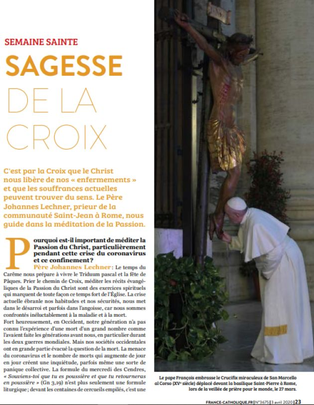 Interview de frère Yohannes dans France Catholique