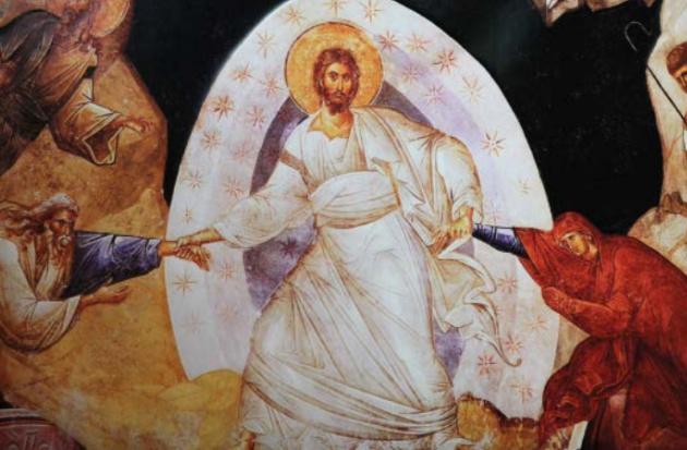 Le Christ va chercher Adam et Ève aux enfers, fresque de l'Anastasis de l'église Saint-Sauveur-in-Chora, à Constantinople.