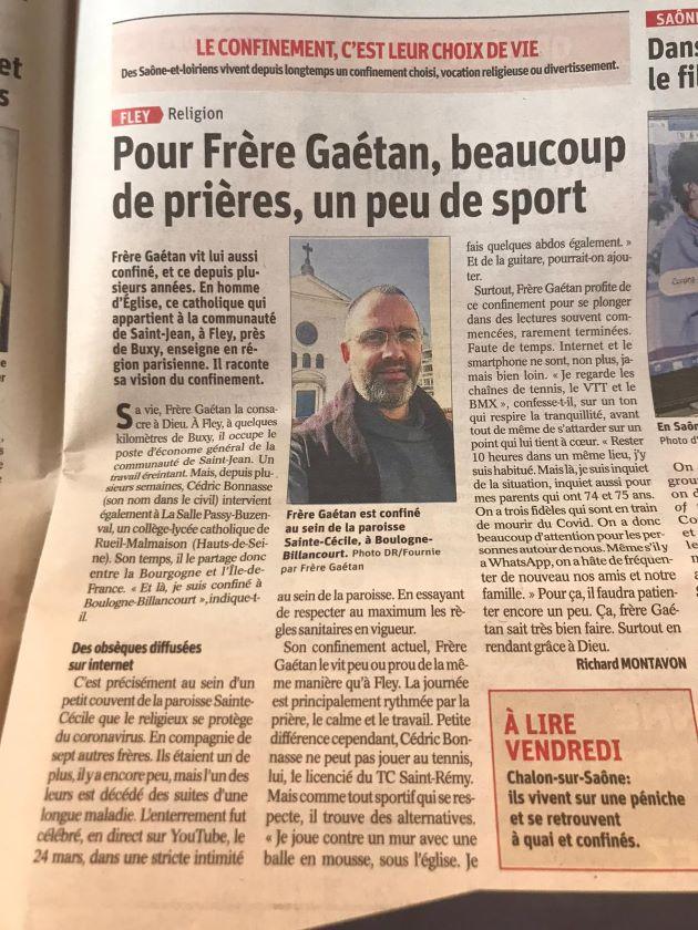 Article sur frère Gaétan dans...